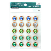 Boho Wood Rim Green & Blue Bling Stickers -pakkaus