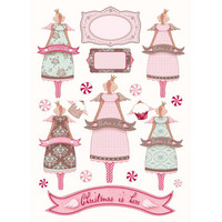 Tilda: Princess Angels A4 - korttikuva-arkki  1