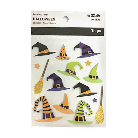Halloween 3D Stickers: Witch Hat & Broom