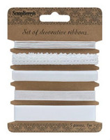 Set of Decorative Ribbons: White - nauhapakkaus