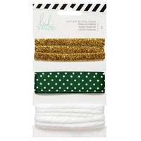 Premium Ribbon: Gold & Green - nauhapakkaus