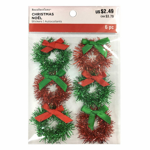 Christmas 3D Stickers: Tinsel Wreaths