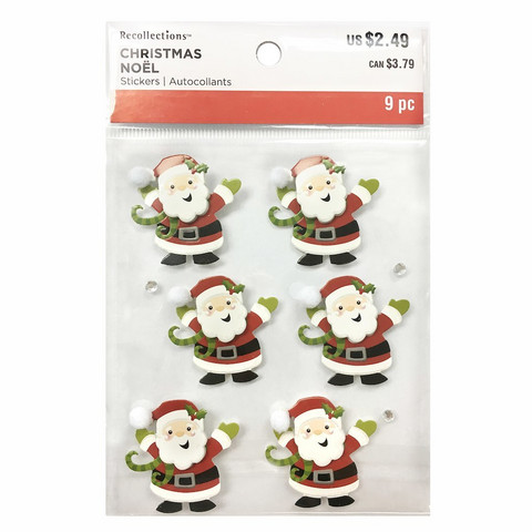 Christmas 3D Stickers: Santa