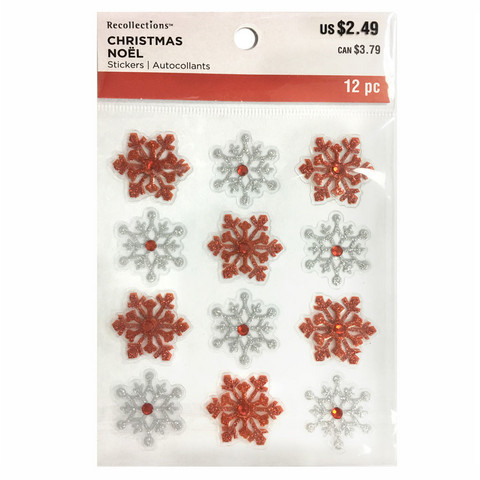 Christmas 3D Stickers: Red & White Snowflakes