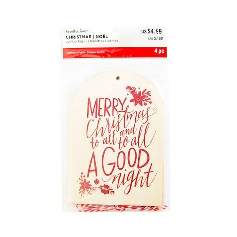 Merry Christmas Wooden Jumbo Tags - koristeet