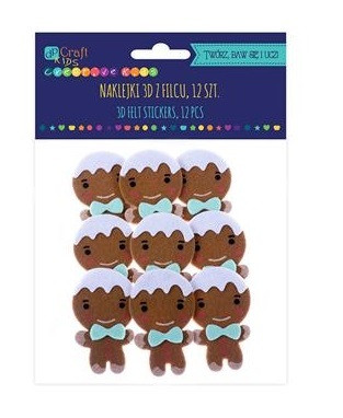 3D Felt Stickers: Gingerbread Men