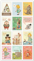 Postage Stamp Stickers: Alice in Wonderland 1
