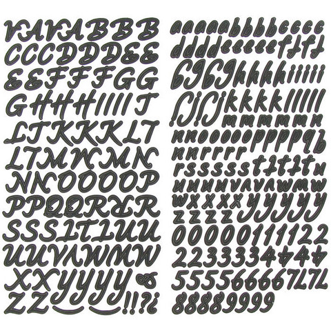 Alpha Stickers: Script Black