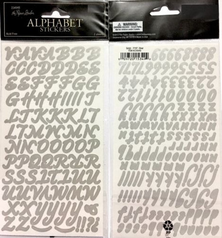 Alpha Stickers: Script Silver
