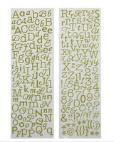 Glitter Alpha Stickers: Green