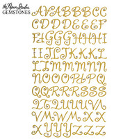 Gemstones Glitter Gem Alpha Stickers: Gold