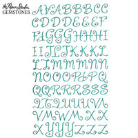 Gemstones Glitter Gem Alpha Stickers: Turquoise