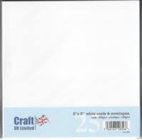 Craft UK: 8x8 korttipohjat ja kirjekuoret 25 kpl valkoinen