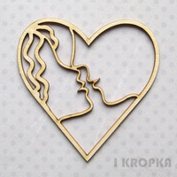 Kissing Couple Heart  - chipboardpakkaus