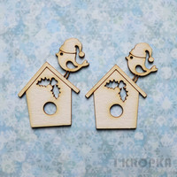 Christmas Birds & Birdhouses- chipboardpakkaus
