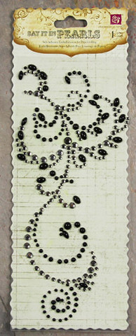 Say It in Pearls: Rhinestones & Pearls Swirl Black