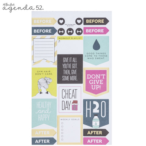 Agenda 52 Foiled Sticker Pack: Fitness -tarrakirja