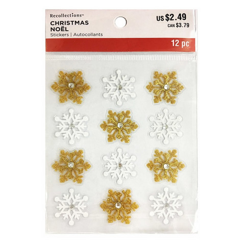 Christmas 3D Stickers: Gold & White Snowflakes
