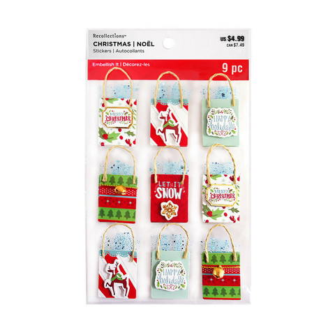 Recollections Christmas 3D Stickers: Holiday Shopping Bags - tarrapakkaus