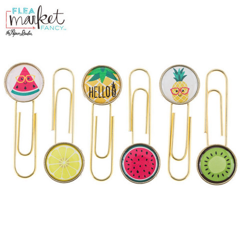 Flea Market Fancy Paper Clips: Gold Funky Fruit