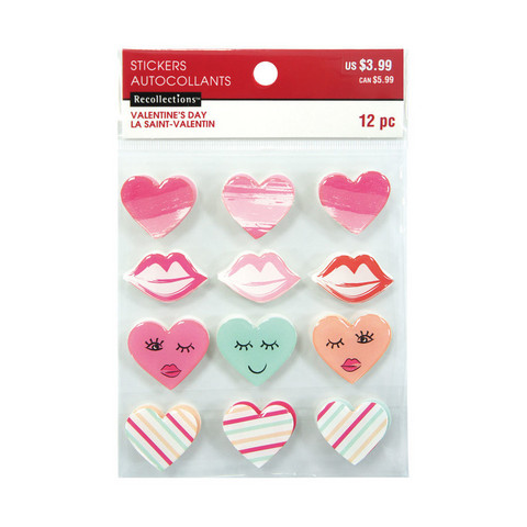 Layered Stickers Valentine: Hearts & Lips  -tarrat