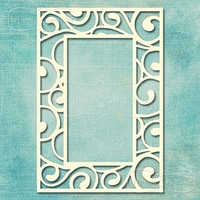 Flourish Retangle Frame   -chipboardpakkaus