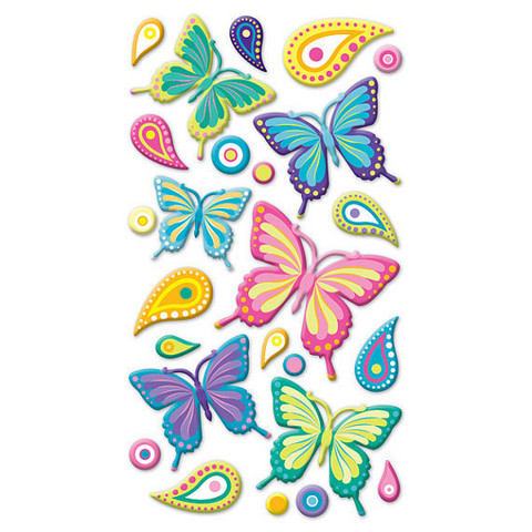 Sticko Puffy Stickers:  Wild Butterflies