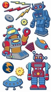 Sticko Puffy Stickers:  Robots