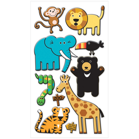 Sticko Puffy Stickers: Zoo