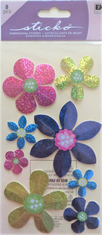 Sticko 3D Foil Stickers: Faceted Flowers