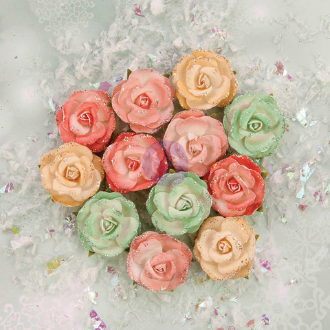 Prima Marketing Flower Embellishments: Sweet Peppermint Snow Roses