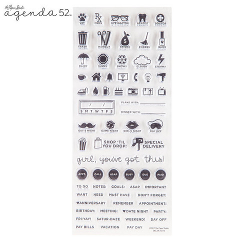 Agenda 52 Planner Stamps: Small Words & Icons