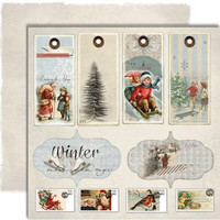 Winter Time Collection: Winter Time Tags  12x12 skräppipaperiarkki