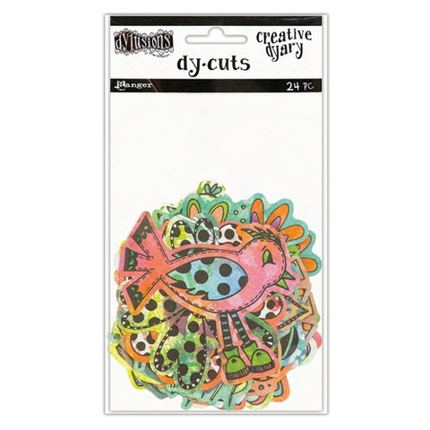 Dylusions Creative Dyary Dy-cuts: Colored Birds & Flowers