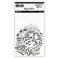 Dylusions Creative Dyary Dy-cuts: Black & White Birds & Flowers