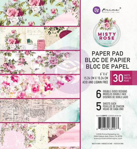 Prima Marketing: Misty Rose 6x6 paperikokoelma