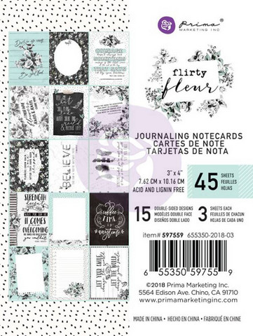 Prima Marketing: Flirty Fleur 3x4 Journaling Cards