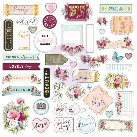 Prima Marketing: Misty Rose Ephemera & Stickers 1