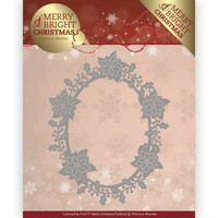 Merry & Bright Christmas: Poinsettia Oval -stanssi