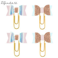 Angenda 52 Paper Clips: Pink Glitter & Iridescent Bow