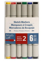 Artist's Loft Dual Tip Sketch Markers 6 pc : Primary  - tussipakkaus