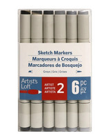 Artist's Loft Dual Tip Sketch Markers 6 pc : Greys  - tussipakkaus