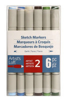 Artist's Loft Dual Tip Sketch Markers 6 pc : Earth  - tussipakkaus