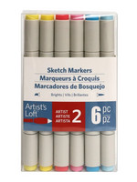 Artist's Loft Dual Tip Sketch Markers 6 pc : Brights  - tussipakkaus