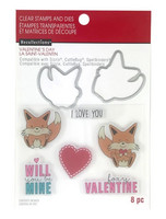 Recollections Valentine stamps & dies: Fox -setti