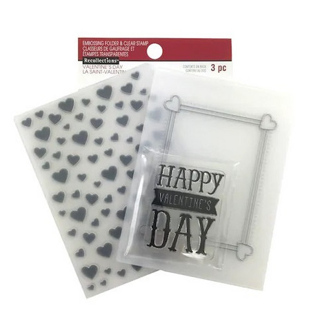 Recollections Valentine Clear Stamp & Embossing Folders: Happy Valentine's Day -setti