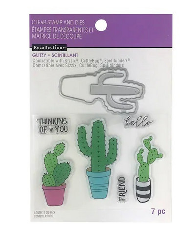 Recollections Glitzy stamps & dies: Cactus -setti