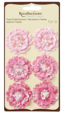 Recollections: Pink Beaded Fabric Flowers