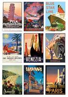 Vintage Travel  A4 korttikuva-arkki