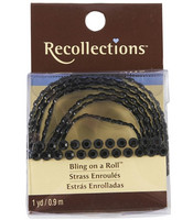 Recollections Bling on a Roll: Black 4mm Rhinestones